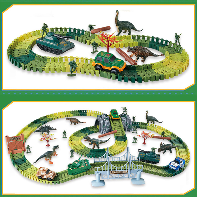 Magical Racing Dinosaur Track Play Sets DIY Bend Flexible Race Track Electronic Car Toys Tank Figures Toys For Children Gift