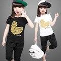 Define Girls Roupas 2 pçs/set Verão T-shirt de manga Curta Estilo terno Conjunto de Roupas Meninas das Crianças Roupa Dos Miúdos Conjuntos