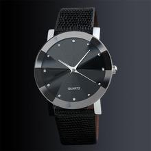 LinTimes Women Men Couples Simple Casual Rhinestone Leather Belt Quartz Wrist Watch