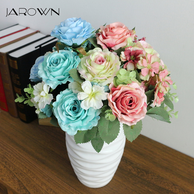 JAROWN Artificial Flowers Silk Plastic Flowers Pinecone Roses ...