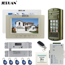 "JERUAN  7"" LCD Video Intercom Door Phone System kit 2 Monitor + 1 Doorbell Metal Waterproof Access Password HD IR Mini Camera"