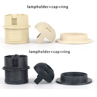 10sets E27 E26 Lamp Holder Socket Plastic Lighting Connector With Cap And Ring Half Thread For