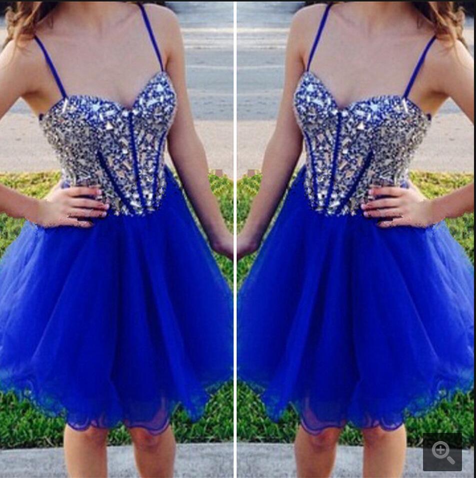 Sexy robes bleu Royal pour la fête de bal chérie perlée robe de bal dos Zipper Spaghetti sangle une ligne robes de bal pour les filles