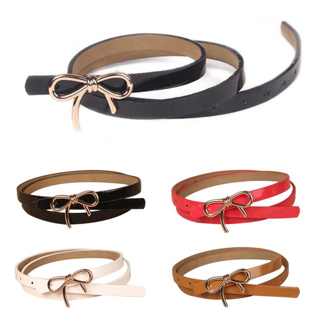 Hot Candy Bow Thin Women PU Casual Leather Belt 2016 Brand Waistband Female Straps Ladies Cummerbund for Girls YD1013