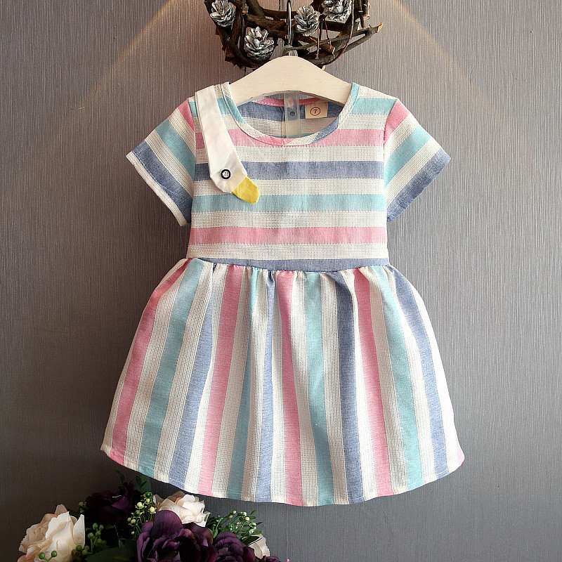 f33733603 Kids dress 2018 summer girls clothes lovely o neck striped kids ...