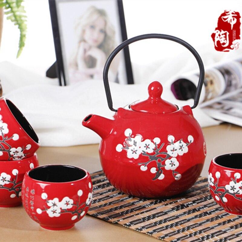 Горячая Распродажа Endulge японский стиль керамической кунг-фу чай красный набор свадебный подарок чашка чайник свадебный подарок, использова...
