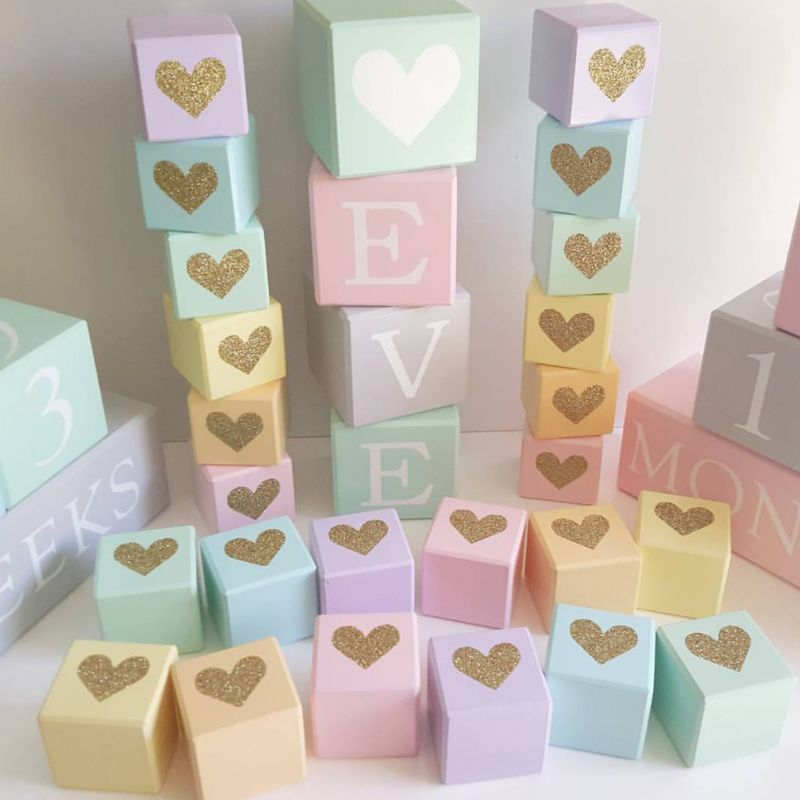 Baby Room Fashion Soft Assembly Furnishings Solid Wood Flash Gold Love Heart Square Cube Ornaments Photography Decoration Prop