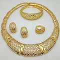 African Costume Jewelry Sets 24K Gold Plated Women Wedding Bridal Accessories Crystal Necklace Bracelet Earrings Sets