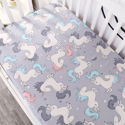 Customize baby kids bed sheet crib mattress cover bedding set cartoon parteen fitted crib sheet for girls boys (10)
