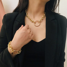Fashion Round Necklace for women girls Vintage Gold Chain for Neck Hand Jewelry Elegant  Collar Choker Sweater Chain Necklace elegant paint brush shape sweater chain for women