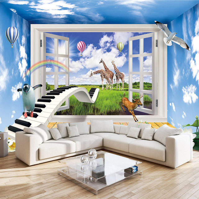 3D Effect Window Scenery Creative Children Room Decor Mural Wallpaper  Animal World Kids Room Bedroom Background Photo Wall Paper
