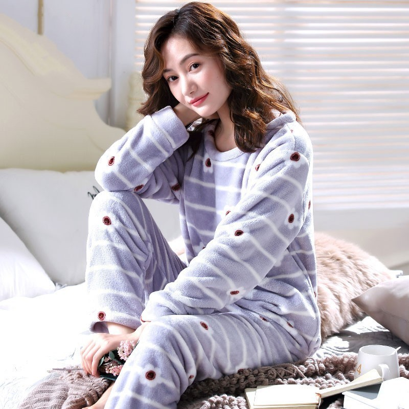 77593f7431 Detail Feedback Questions about New Winter Warm Flannel Elegant Women  Sleepwear Pajamas Lady Floral Print Pajama Sets Coral Fleece Pijamas Mujer  Home ...