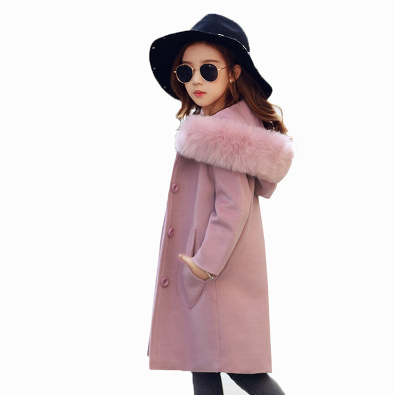 Children Winter Coats New Kids Girls Wool Collar Coat Woolen Jackets Thick Warm Hooded Jacket Princess 4-14Y Child Clothing цены