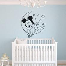 Moon And Stars Vinyl Wall Decal Mickey Mouse Good Sleeping Sticker Baby Room Decor Nursery Bedroom Mural AZ036