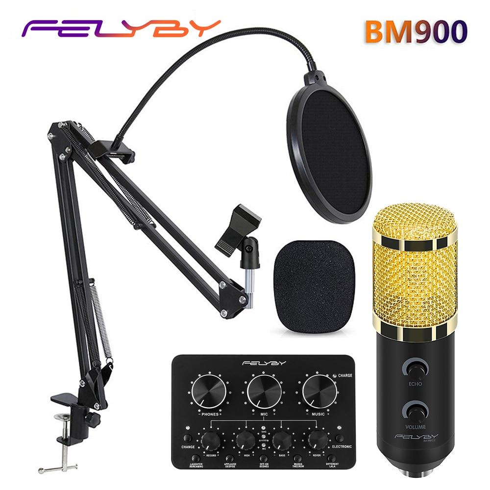 FELYBY bm 800 actualizado bm 900 estudio profesional USB micrófono de condensador para ordenador portátil volumen ajustable de reverberación mikrofon
