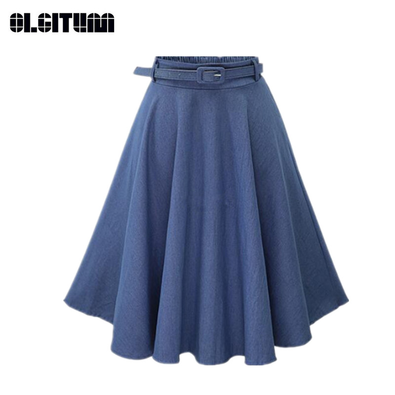New Summer Women's Denim Skirts Knee Length Slim Skirts Casual A-Line High Waist Skirts Send Belt For Free SK166