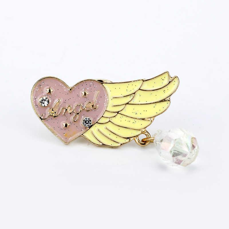 Kartun Pink Cinta Hati Berlian Imitasi Sayap Bros Lencana Lucu Logam Manis Anime Enamel Pin Pakaian Tas Perhiasan untuk Wanita Gadis hadiah