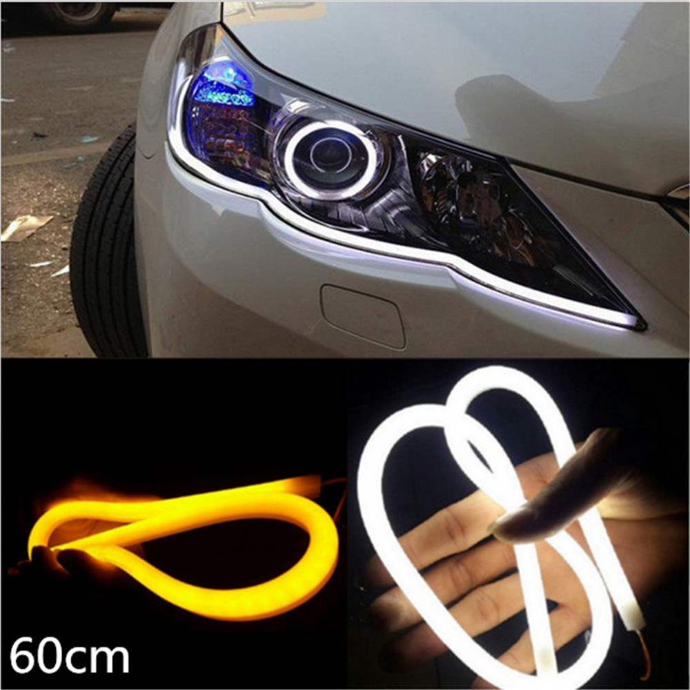 2xled 60cm 12W White+Yellow Flexible drl Switchback Strip led Daytime Running Lights With Turn Signal Light 6pcs 60cm flexible tear strip switchback daytime running light drl with turn signal light 7 dual color fd 4767