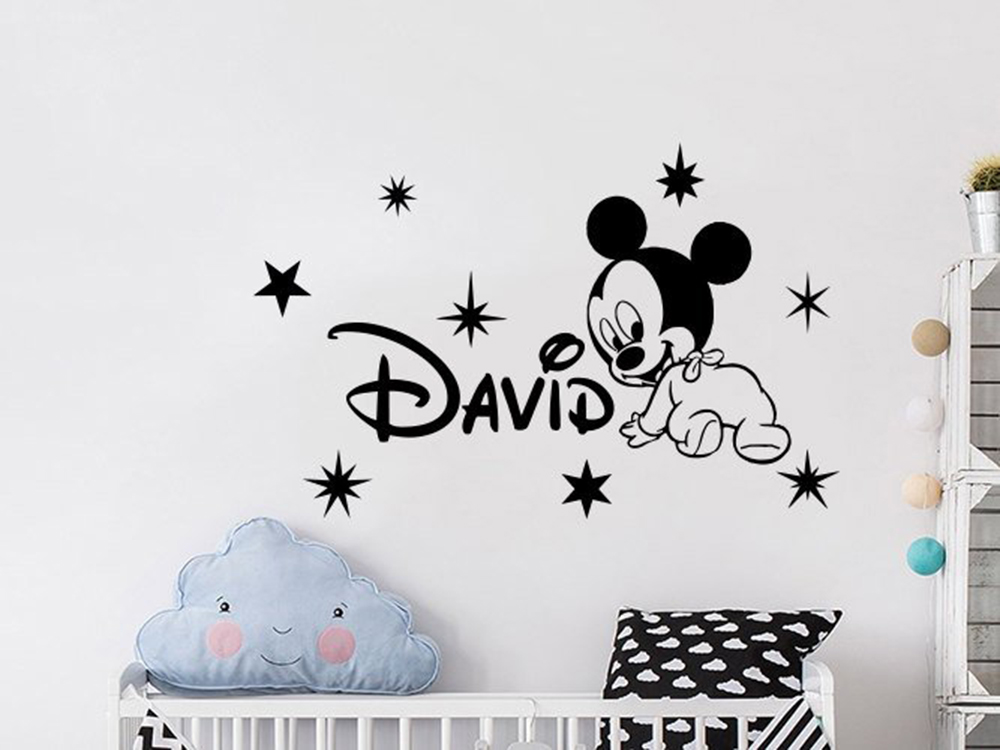 Us 3 88 25 Off Wall Decal Custom Boys Name Mickey Mouse Vinyl Sticker Decals Personalized Nursery Decor Kids Room Childrens Bedroom D275 In