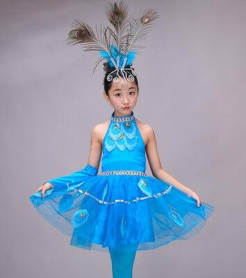 Новые детские костюмы; юбки для танцев для девочек; национальный танец павлина; одежда для выступлений(рост 90-160 см - Цвет: 1