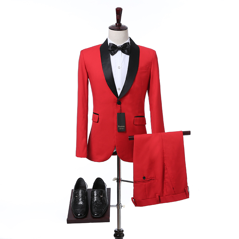 Slim Fit Red Men Suits for Prom Party Stage Clothes Custom Wedding Groomsmen Tuxedos 2 Piece Jacket Pants Set Foviva 09001