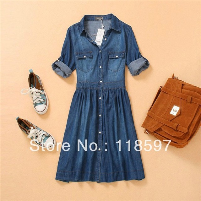 Lady's denim one piece dress Fashion summer thin blue slim jeans women's denim half three quarter sleeve plus size dress