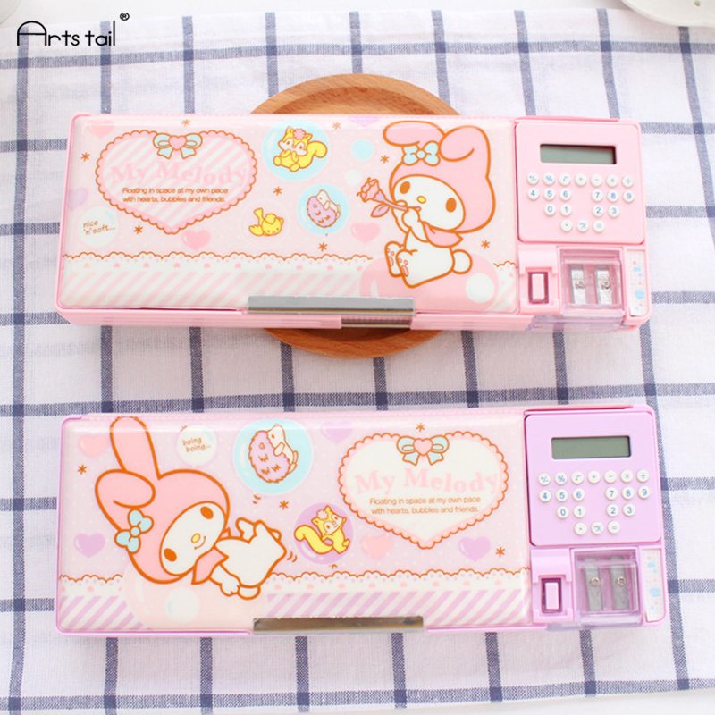 Multi-function cartoon PP plastic girls pencil case cute Small Children Pupils pencil box bag with calculator Pencil sharpener factors influencing pupils performance