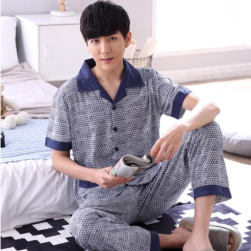 Plus Size L-XXXXL Cotton Pajama Set For Sleep Men Summer Casual Pijamas Hombre Pyjamas Short Sleeve Fashion Plaid Sleepwear