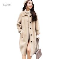 Настоящее короткое овечья кожа бежевое длинное пальто осень зима женские корейские шерстяные пальто кашемир F0199 однобортный