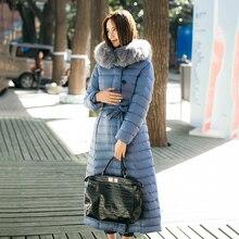 2016 зимнее пальто женщин пуховик пальто реального фокс меха jaqueta feminina mujer синий цвет длинный пуховик манто женский куртка