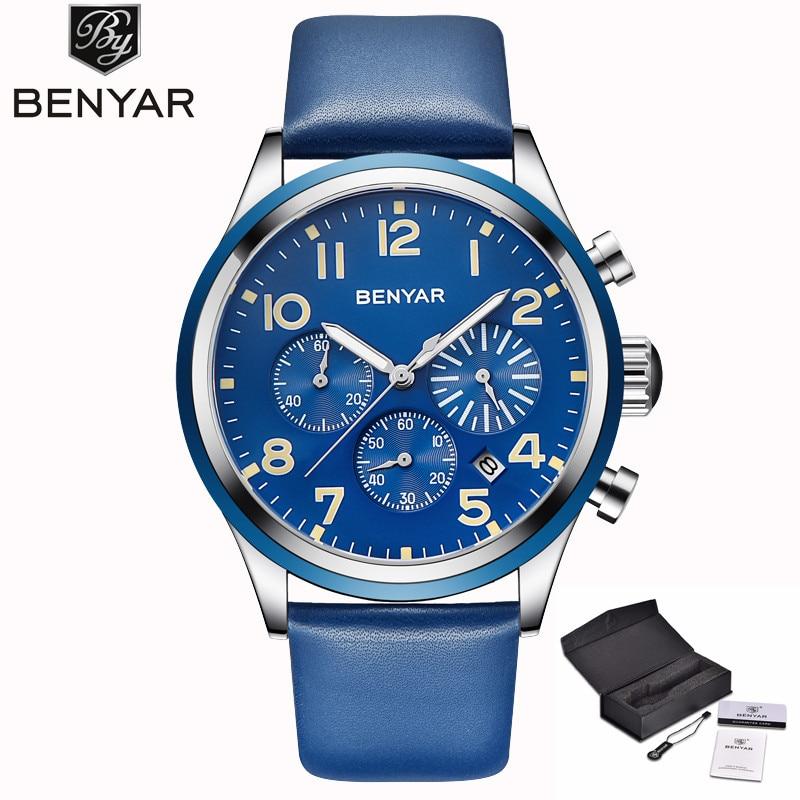 Benyar 2018 Mens Watches Top Brand Luxury Military Sport Chronograph Watch Men Leather Strap Waterproof Quartz Male Clock Xfcs стоимость