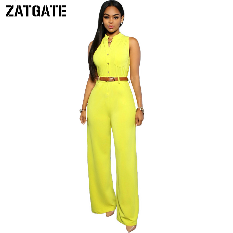 2017 2xl yellow button wide leg jumpsuit women solid high waist with belt long pants v