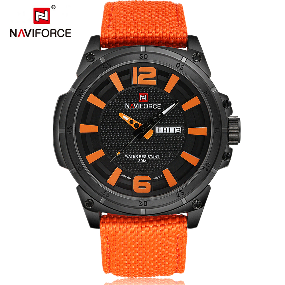 NAVIFORCE Fashion Sports Men Watches Men's Quartz Hour 3D Dial Date Clock Man Nylon Strap Army Military Wrist Watch  New style weide new men quartz casual watch army military sports watch waterproof back light men watches alarm clock multiple time zone