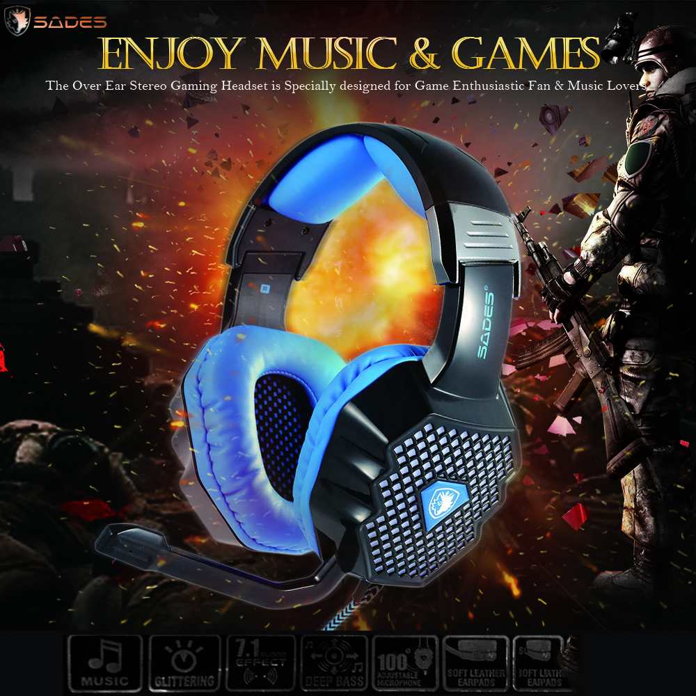 ФОТО SADES A70 Professional Gaming Headphone Over Ear Stereo USB LED Game Headset with Mic Noise Cancellation HiFi Speaker Pc Gamer