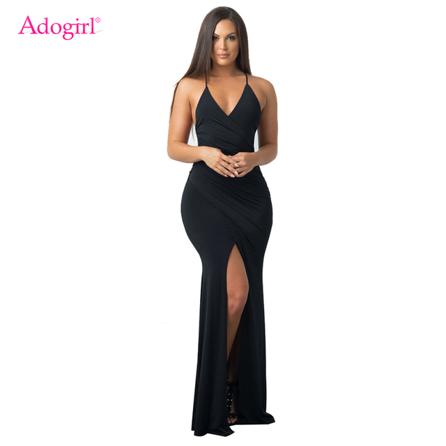 3a64bf9abf Adogirl Solid Black Deep V Neck Halter Maxi Evening Party Dresses Sexy  Backless Wrap High Slit Bodycon Robe Long Dress Vestidos