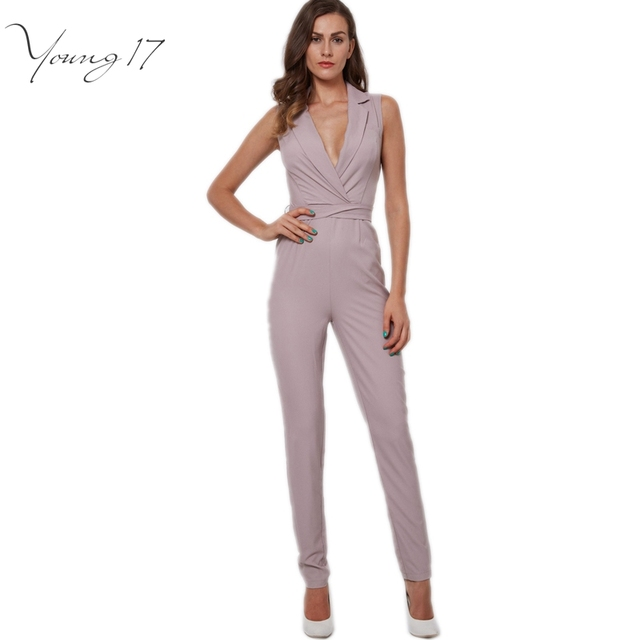 Young17 pink jumpsuit 2016 new sexy club jumpsuits for lady knotted bow elegant deep v neck jumpsuit long elegant work jumpsuits