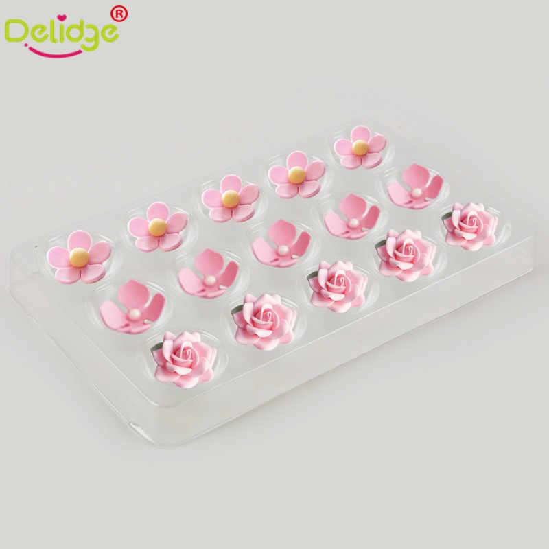 عدد 2 قطعة/مجموعة قالب كعك فوندان جاف من البلاستيك الشفاف لتشكيل قالب كعك على شكل زهرة عجينة السكر