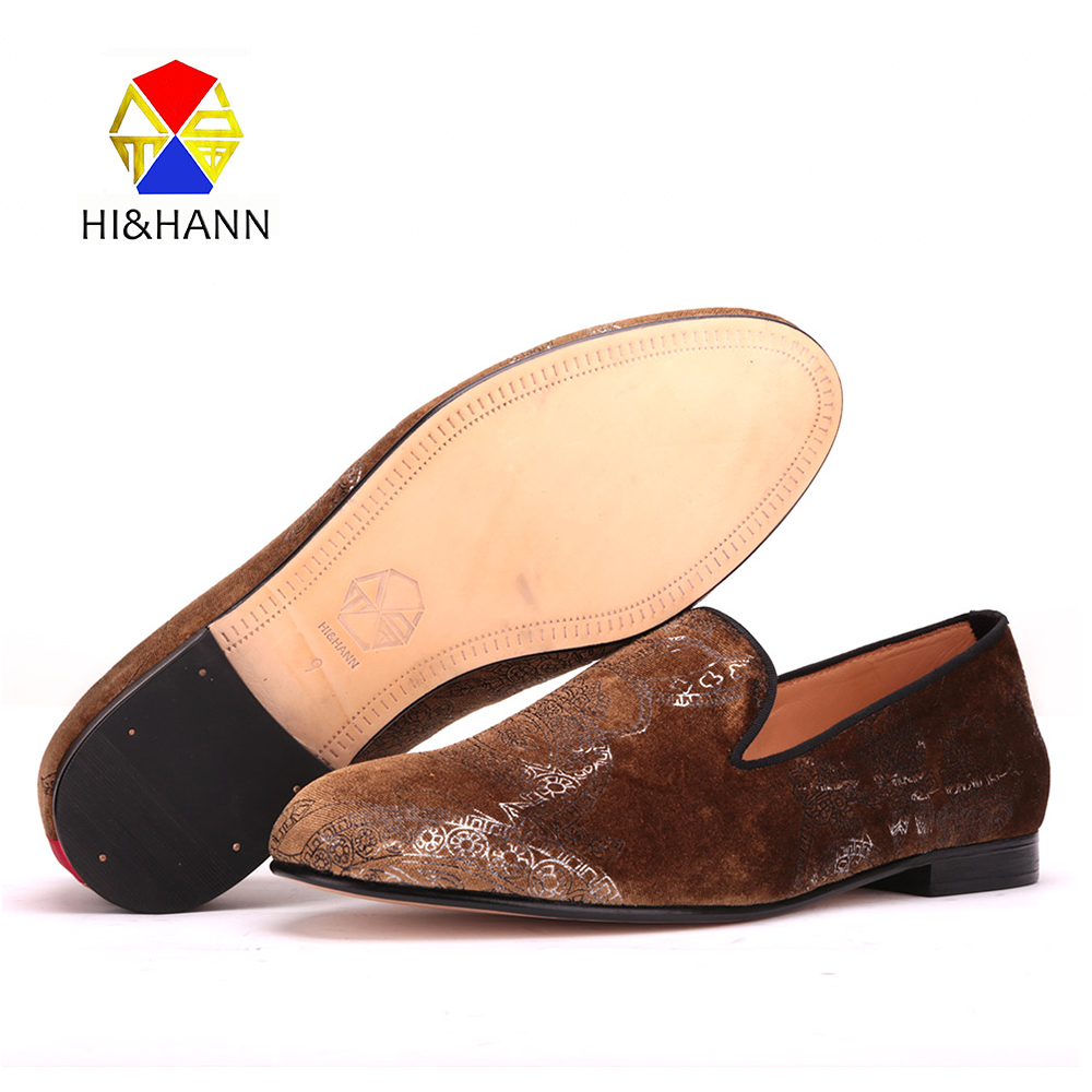 2017 Brown velvet men handmade shoes with Graffiti printing Genuine leather insole and outsole luxurious Party male loafers qutaa 2018 women pumps pu leather thin high heel women shoes pointed toe slip on platform ladies wedding pumps size 34 43