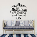 The Mountains Are Calling Quotes Wall Stickers Mountain Chain And Cedar Home Decor Living Room Vinyl Removable Wall Decals X248