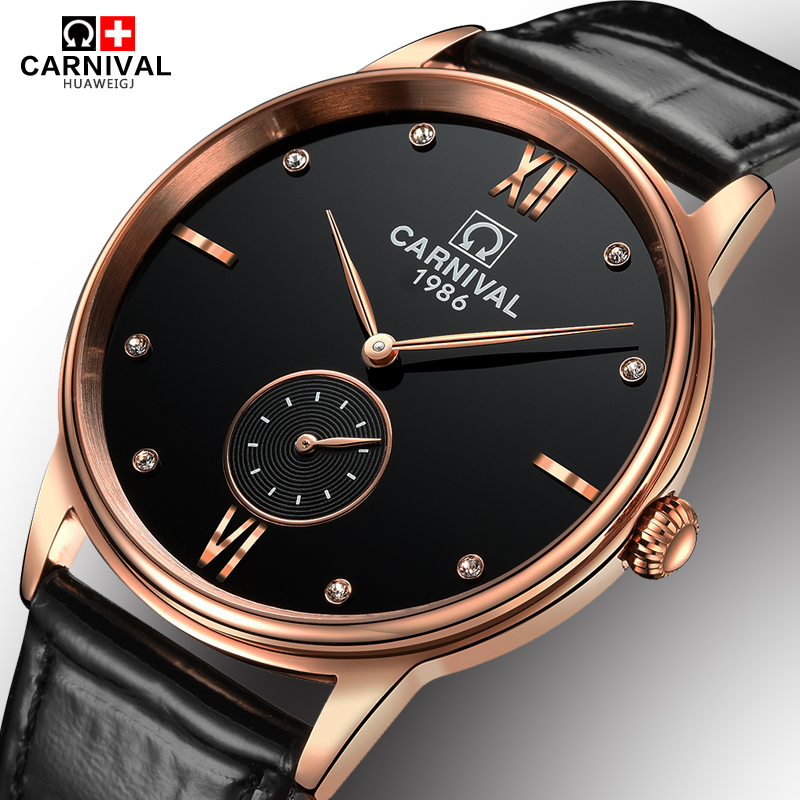 Luxury Carnival big dial ultrathin Waterproof watch men Sapphire quartz black wristwatch relogio masculino