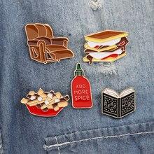 Books Are Sofa hamburger Castor Enamel Pin Hedgehog Book Cartoon series badge Literature lovers gift