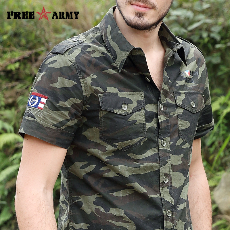 Gratis Army Brand Hot Herre Shirts Fashion 2017 Summer Short Sleeves - Herretøj - Foto 2