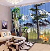 Large Chinese 3D Curtains Drapes For Bedroom Living Room Snow Landscape high mountain Painting Blackout Living Room Curtains