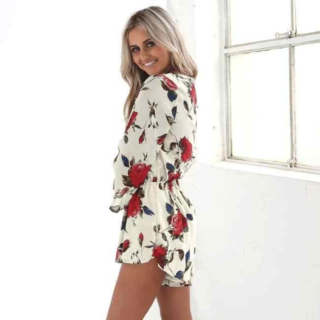380fd47b715f ... Free Ostrich 2019 Summer Beach Romper Women V Neck Print Jumpsuit  Clubwear Casual Loose Playsuit Short ...
