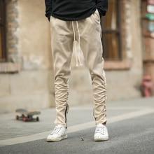 Harem Pants Men Casual Skinny Side Zipper Sweatpants Solid Hip Hop High Street Trousers Joggers Slimming Pencil