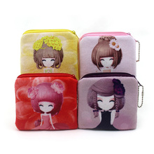 10cm*10cm Cute Style Novelty Beautiful Gril Zipper Plush Square Coin Purse Kawaii Children Bag Women Wallets