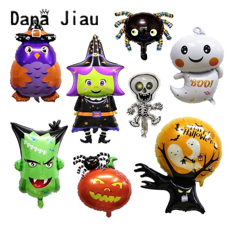 Dana jiau Новые вечерние украшения для Хэллоуина, гелиевый воздух, фольга, воздушный шар, тыква, призрак, пиратский корабль, волосы, брендовая во...