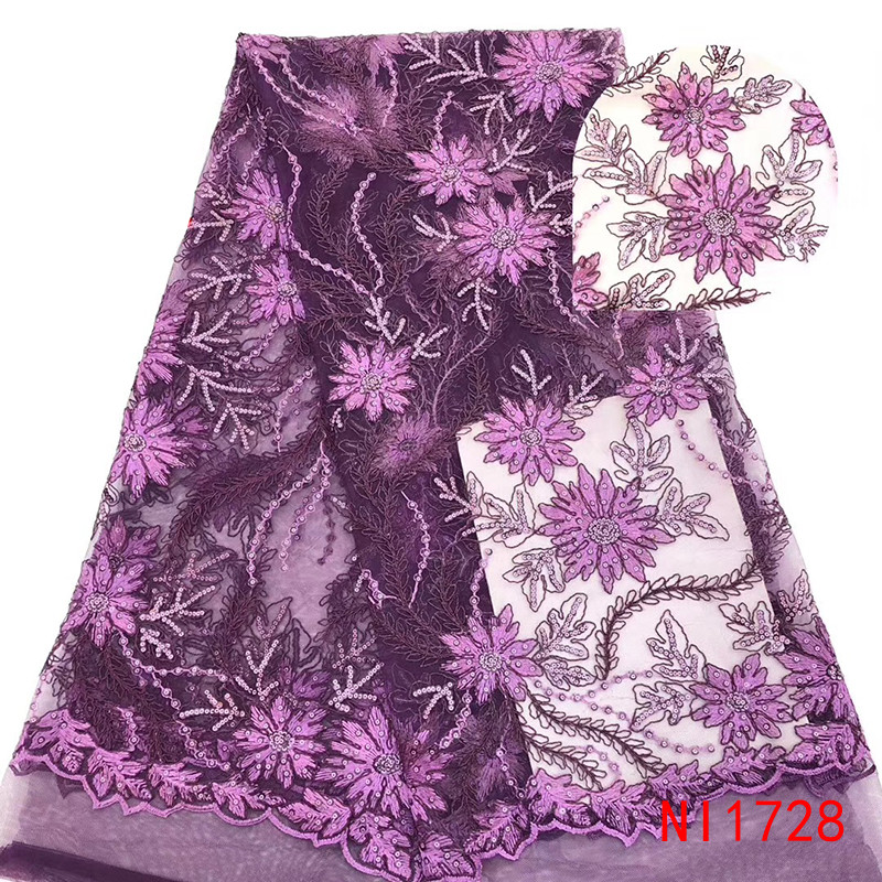 High Quality Tulle Lace Fabric Hot Sale African Lace Fabric With Sequins French Embroidered Laces Fabrics For Wedding KsNI1728