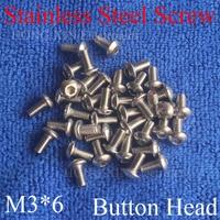 1000pcs M3 Metric Thread 304 stainless steel Hexagon Socket Button Head Cap Screw Bolts Round Head M3*6mm screw nut