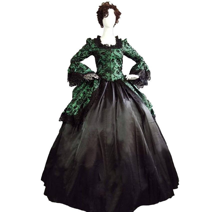 US $88.0 |Ruffles Green&Black Dress Velvet Flocked Halloween Masquerade  Ball Gown Reenactment Clothing Custom Make Plus Size-in Dresses from  Women\'s ...